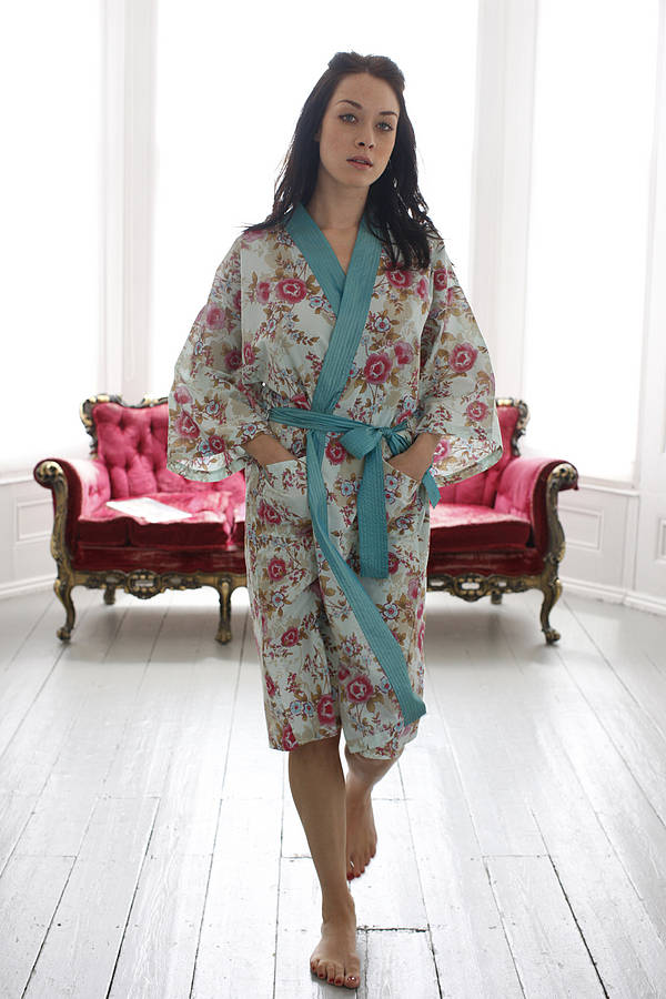 cotton wrap over kimono in blue beautiful by caro london ...
