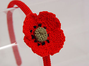 Handmade Organic Poppy Hairband - for children