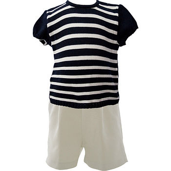 Navy blue/cream jumper and shorts set