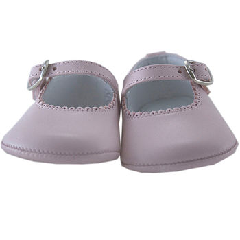 Pink baby's leather strap shoes