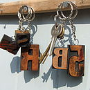 Original Vintage Letterpress Keyrings