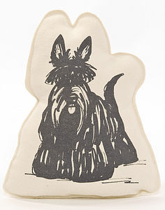 Scottie Dog Shaped Screen Printed Cushion