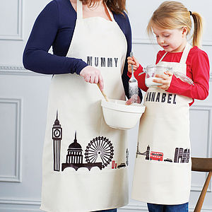 Personalised London Print Apron Set - little cooks