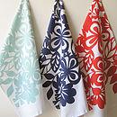 Floral Screen Printed Tea Towel