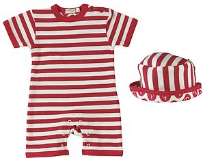 Organic Nautical Summer Baby Romper & Sun Hat - outfits & sets
