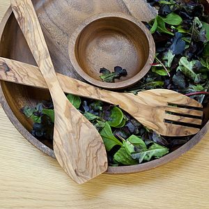 Olive Wood Salad Servers - gifts for grandmothers