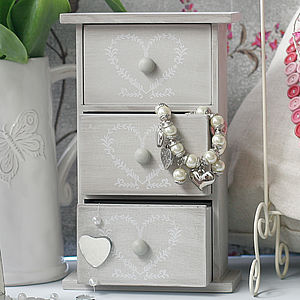 Shabby Chic Heart Jewellery Box - jewellery storage