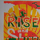 Rise and Shine, shown in yellow, red and green