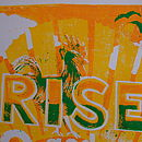 Rise and Shine, shown in yellow, orange and green