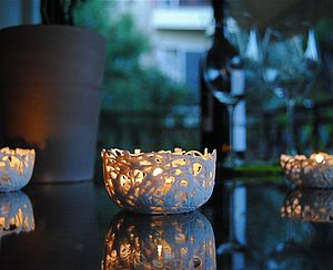 Porcelain Tea Light Holder - table decorations
