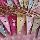 Handpainted White Or Brown Bunny Heart Tags