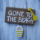 beach sign_brown wash with sunflower stripe