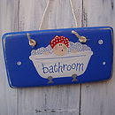 bather sign_royal blue with cherry red hat