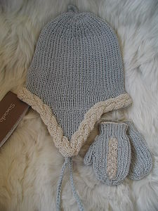 Baby Alpaca Earflap Bonnet With Mitts - children's accessories