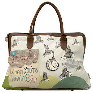 'Birds Having Fun' Weekend Overnight Bag - for her