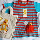 Stripy T Shirt With Pocket Teddy In A Bag