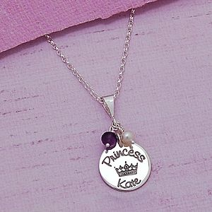 Personalised Silver Princess Necklace
