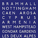 Personalised Classic Destination Print - Blue & White