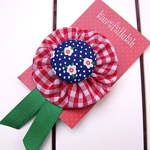 Gingham And Daisy Rosette Brooch - women's sale