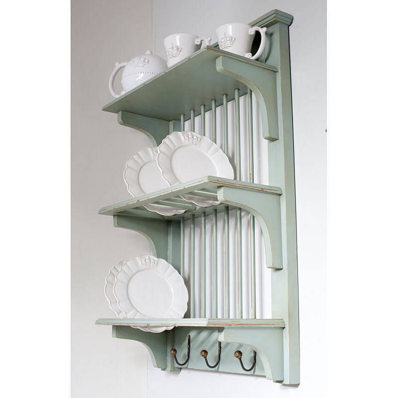 wooden painted plate rack wall unit by the orchard ...