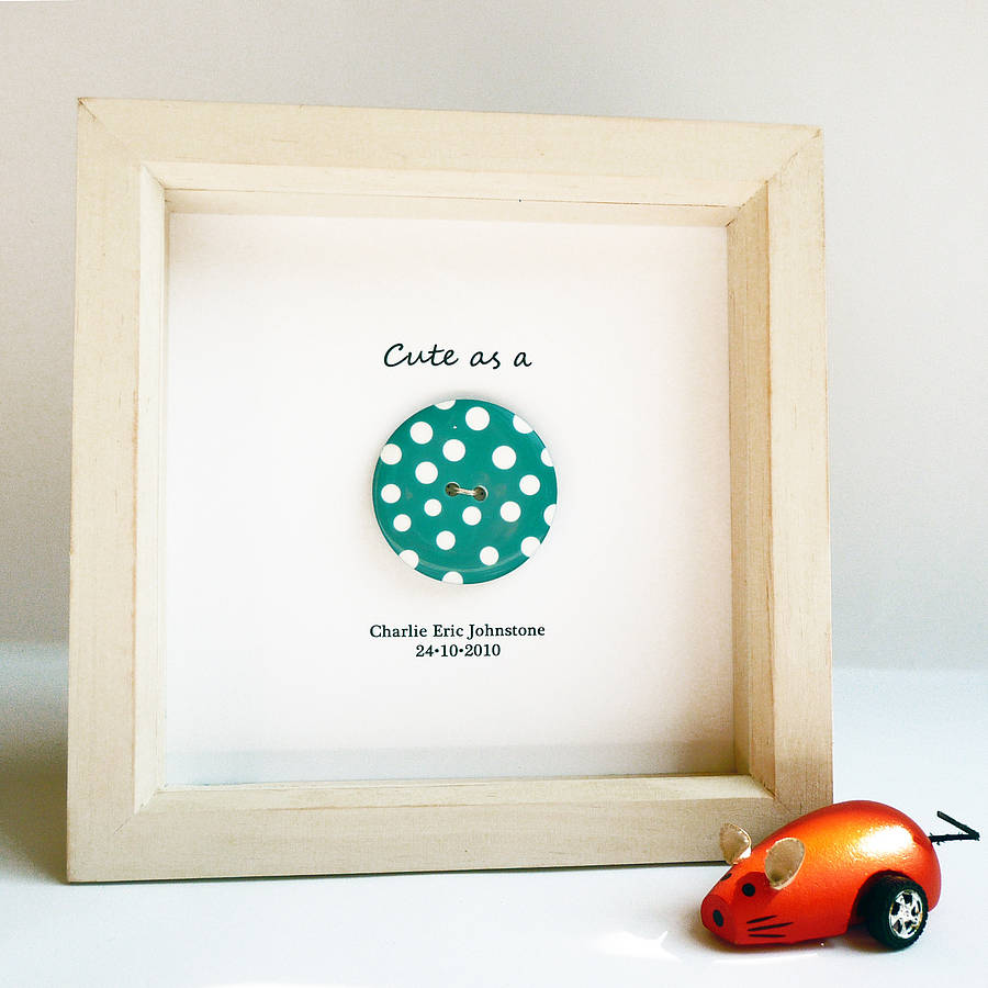 New Baby Gifts Uk Delivery : Cute as a button new baby christening gift by spotty n