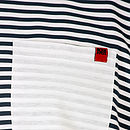 Front pocket detail of mens nautical t shirt. Contrasting white with small branding detail
