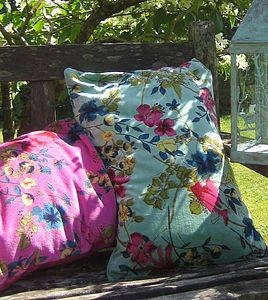 Cotton Velvet Floral Cushions - patterned cushions