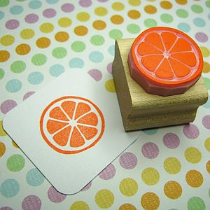 Citrus Slice Hand Carved Rubber Stamp