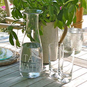 'Tap Water ' Or 'Fresh Juice' Glass Decanter