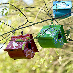 Enamel Bird House Decoration - gardener