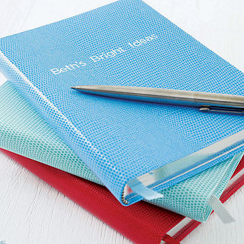 Personalised Notebook (Sky, Aqua and Tomato)