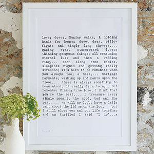 'Married Life' Poem Art Print - wedding gifts