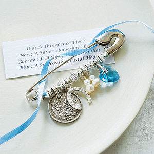 Bridal Charm Pin - 'something blue'
