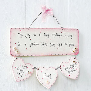 Personalised Handmade Christening Plaque Keepsake