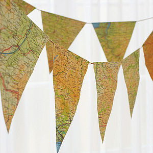 Vintage Map Bunting - outdoor decorations