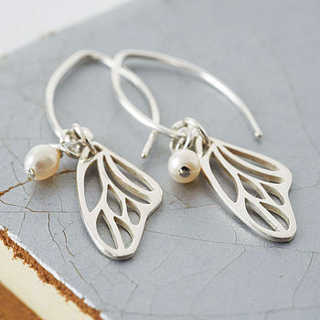 Sterling Silver And Pearl Butterfly Wing Earrings