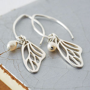 Silver And Pearl Butterfly Wing Earrings - gifts for her