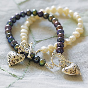 Freshwater Pearl Heart Bracelet - gifts under £50