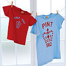 Matching T Shirt Set Pint And Half Pint Pale Blue Red