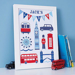 Personalised London Print - canvas prints & art for children