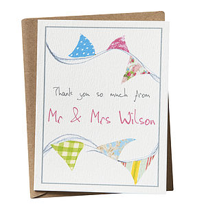 Personalised 'Thank You' Bunting Card - wedding stationery