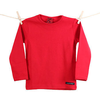 Cotton long sleeve T shirt top tomato