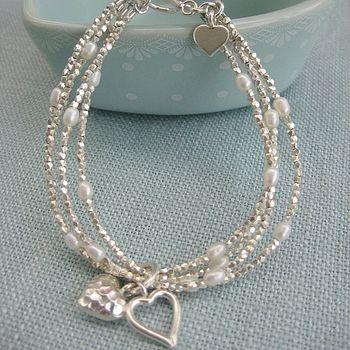 Silver Heart Multi Strand Bracelet