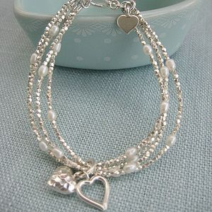 Silver Heart Multi Strand Bracelet - flower girl jewellery