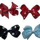Top Left to Right - Red swiss, Red polka, Navy polka, Blue polka