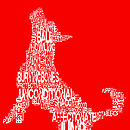 Red Typographic Dog Print