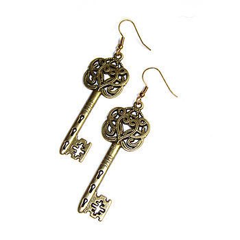 Antique Style Large Key Earrings