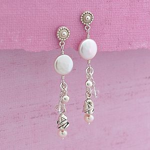 Coin Pearl & Silver Rose Earrings
