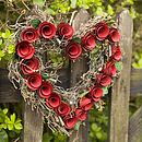 Red flowers Heart wreath