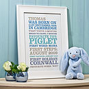 Child's Personalised 'Firsts' Poster Print